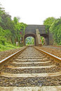 Free Rail Track Going Under Viaduct Stock Image - 15931051