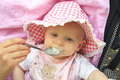 Free Baby Is Fed From A Spoon Stock Image - 15938231