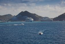Ships In Port At St. Maarten, Caribbean Stock Photo