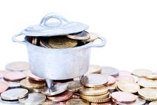 Free Euro Coins In Cauldron Royalty Free Stock Photography - 15930157
