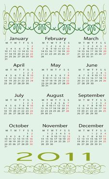 Free Calendar For 2011 Stock Photography - 15930442