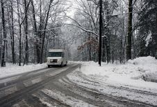 Free Truck On A Road In A Snowy Forest Royalty Free Stock Photography - 15930737