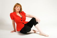 Free Beautiful Woman Relaxing Wearing Red Jacket Stock Images - 15931754