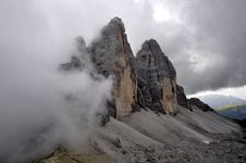 Landscape Dolomites - Tre Cime Di Lavaredo Stock Photo