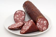 Sausage On A Plate Royalty Free Stock Images