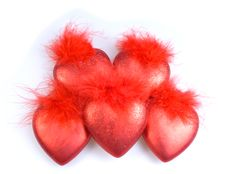 Free Decorations - Five Red Hearts Stock Photo - 15932830
