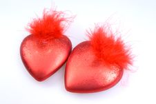 Decorations - Two Red Hearts Stock Photography