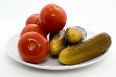 Free Homemade Salted Tomatoes And Cucumber Royalty Free Stock Image - 15933816