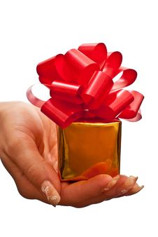 Free Woman Holding Gift Box Stock Photography - 15936962