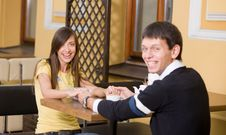Free Positive Smiling Pair Sit In Cafe Stock Photos - 15937093
