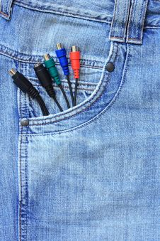 Free Wires In The Jeans Pocket Stock Photo - 15937110