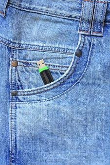 Flash Drive In Your Pocket Jeans Royalty Free Stock Photos