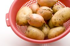 Free Raw Potatoes With Onions Royalty Free Stock Photo - 15937405