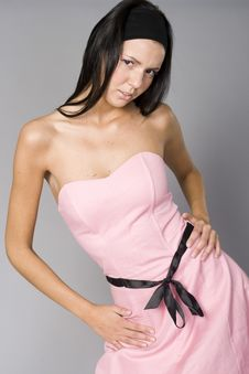 Free Beautiful Slim Woman In Pink Dress Royalty Free Stock Image - 15937736