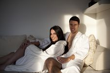 Sexy Young Couple Having Morning Together Royalty Free Stock Images