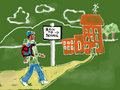 Free Chalk Drawing Of Student Going Back To School Stock Photography - 15947512