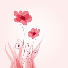 Floral Card With Abstract Flowers. Royalty Free Stock Images