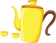 Free Tea Coffee Kettle And Mugs Stock Photography - 15941102