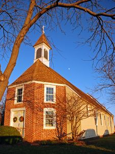 Free Colonial Church At Sunset Royalty Free Stock Photos - 15941998