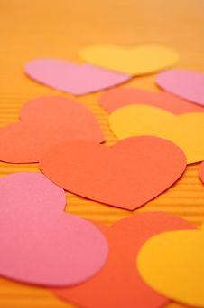 Colorful Cartoon Love Hearts Background. Stock Images