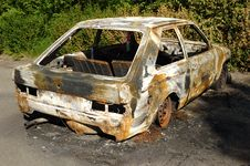 Burnt Car Wreck Royalty Free Stock Image