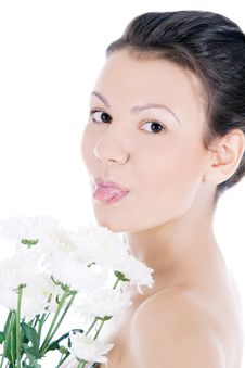 Free Young Sexy Woman With A White Flower. Stock Photo - 15943460