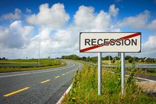 Road With Recession Sign Crossed With Red Line Royalty Free Stock Image