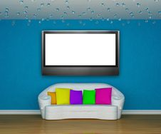Free Living Room With White Couch With LCD Tv Stock Photos - 15943803
