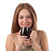 Free Young Woman Drinking From A Cup Royalty Free Stock Images - 15943879