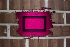 Free Brick Wall With Pink Splash Frame Royalty Free Stock Photography - 15943957