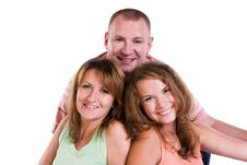 Happy Family. Mother, Father And Daughter Royalty Free Stock Photo