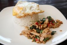 Rice With Basil Pork Chicken And Fired Egg On Top Stock Photo