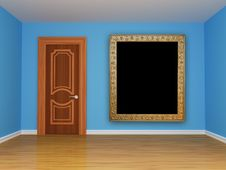 Free Blue Empty Room With Door Royalty Free Stock Photos - 15944178
