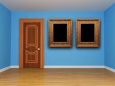 Free Blue Empty Room With Door And Frames Stock Photography - 15944202