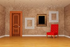 Free Room With Door, Red Chair And Picture Frames Royalty Free Stock Images - 15944369