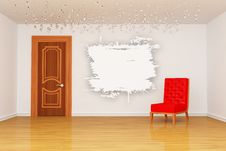 Free Empty Room With Red Chair Royalty Free Stock Photo - 15944385
