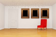 Empty Room With Door, Red Chair And Golden Picture Stock Image