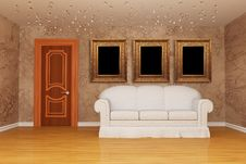 Free Room With Door, White Couch And Picture Frames Stock Images - 15944434