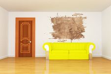 Free Room With Yellow Couch And Splash Hole Stock Image - 15944541