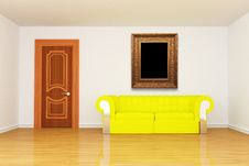 Free Minimalist Living Room With Yellow Couch And Frame Royalty Free Stock Image - 15944556