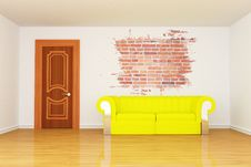 Free Room With Yellow Couch And Splash Hole Royalty Free Stock Photos - 15944568