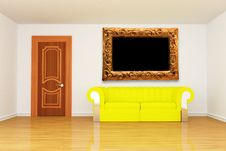 Free Room With Yellow Couch And Modern Picture Frame Stock Images - 15944584
