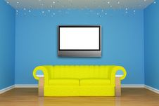 Free Living Room With Yellow Couch And LCD Tv Stock Photos - 15944643