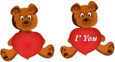 Free Teddy Bear Whith Heart Stock Images - 15945964