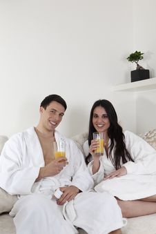 Free Sexy Young Couple In The Morning Having Breakfast Royalty Free Stock Photos - 15946188