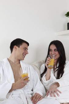Sexy Young Couple In The Morning Having Breakfast Royalty Free Stock Images