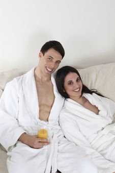Sexy Young Couple In The Morning Having Breakfast Stock Photos