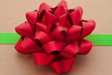 Red Bow With Green Ribbon Stock Photography