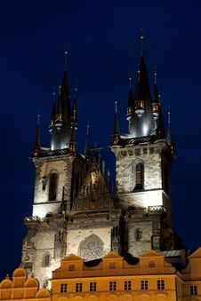 Tyn Church In Prague At Night Royalty Free Stock Images
