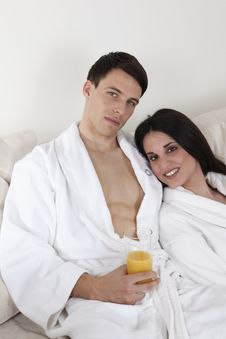 Sexy Young Couple In The Morning Having Breakfast Royalty Free Stock Photography